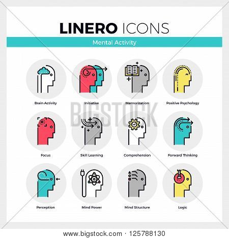 Mental Activity Linero Icons Set