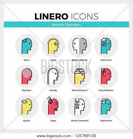Mental Disorders Linero Icons Set