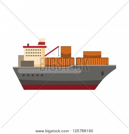 Cargo ship icon in cartoon style on a white background