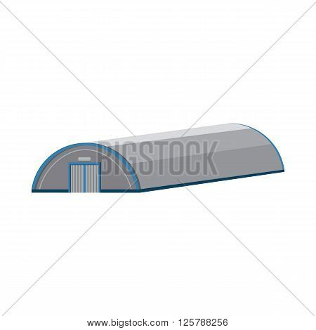 Hangar building icon in cartoon style on a white background