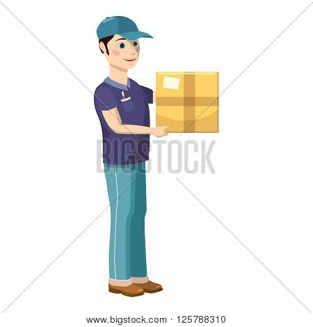 Delivery man holding and carrying a cardbox icon in cartoon style on a white background