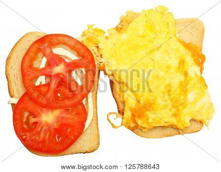 Scrambled Egg and Cheese Sandwich Open with Tomato Isolated over White