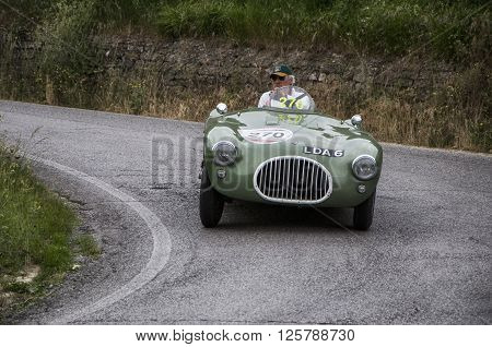 PESARO, ITALY - MAY 15: KIEFT Sport Corsa 1953   on an old racing car in rally Mille Miglia 2015 the famous italian historical race (1927-1957) on May 2015
