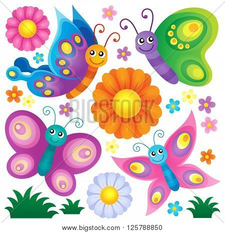 Happy butterflies theme set 2 - eps10 vector illustration.