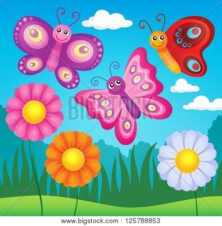 Happy butterflies theme image 3 - eps10 vector illustration.