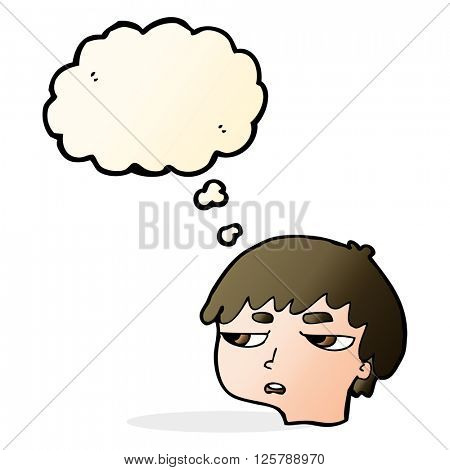 cartoon annoyed boy with thought bubble