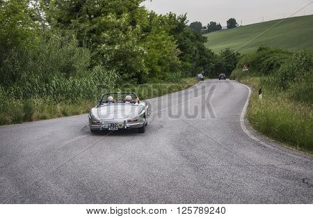 PESARO, ITALY - MAY 15: Mercedes vintage  on an old racing car in rally Mille Miglia 2015 the famous italian historical race (1927-1957) on May 2015