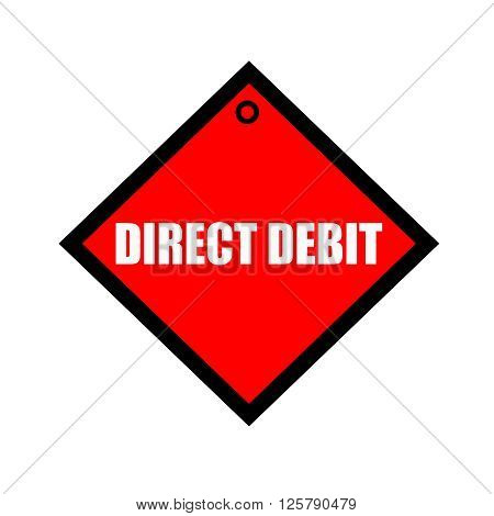 direct debit black wording on quadrate red background