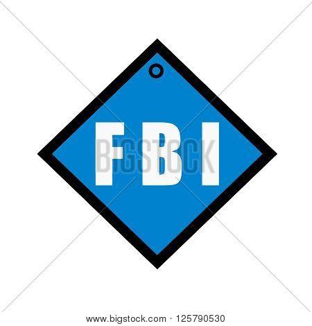 FBI white wording on quadrate blue background
