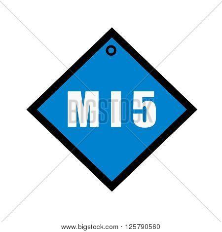 MI5 white wording on quadrate blue background