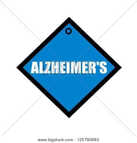 ALZHEIMER'S white wording on quadrate blue background