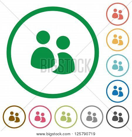 Set of User group color round outlined flat icons on white background