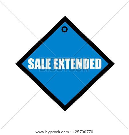 sale extended white wording on quadrate blue background