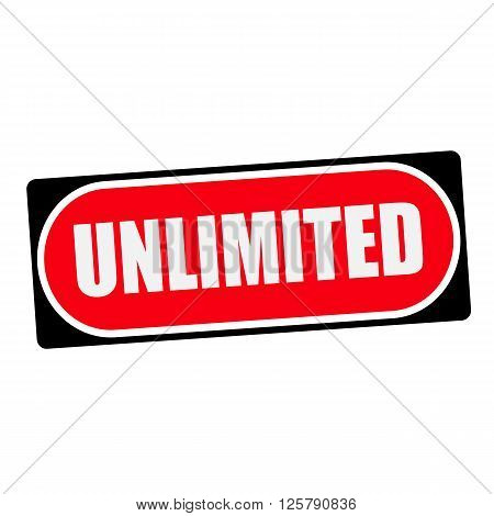 unlimited white wording on red background black frame