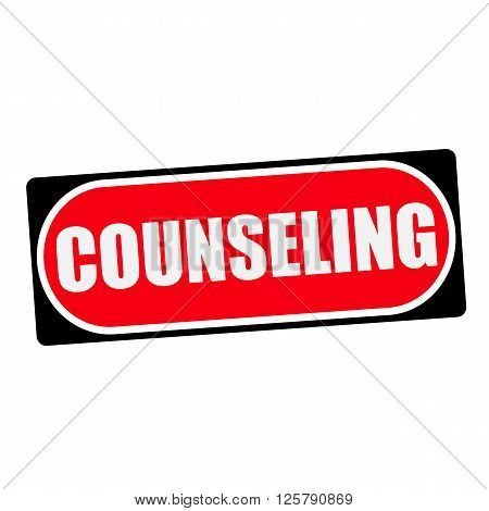 COUNSELING white wording on red background black frame