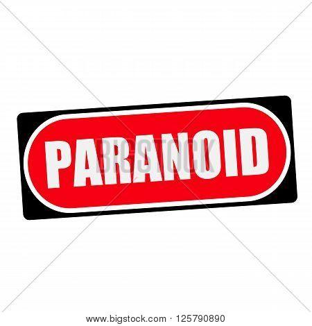 PARANOID white wording on red background black frame