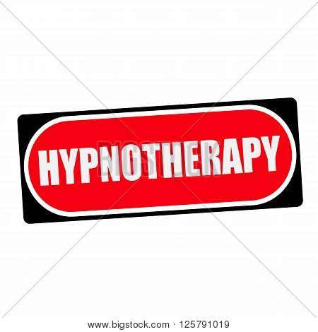 HYPNOTHERAPY white wording on red background black frame