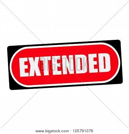 extended white wording on red background black frame