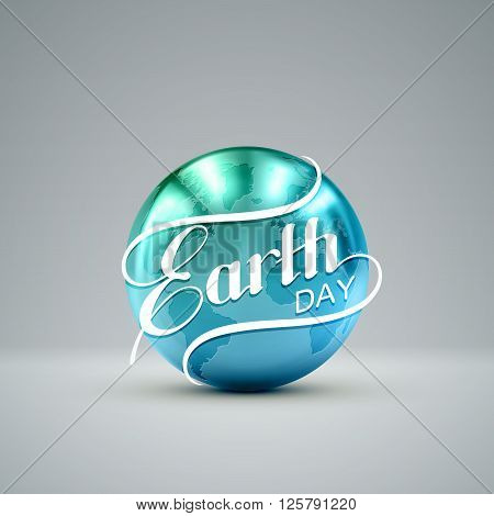 Earth Day. Vector illustration with lettering label and golden metallic planet. Earth Day sign design. Ecology event. 22 of April. Earth Globe with lettering