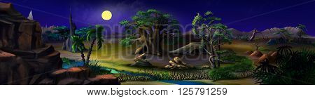 African Bush in a summer night with stone rock. Panorama.