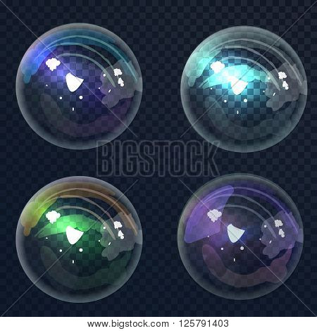 Set universal colorful bubble in vector. Soap bubbles with transparency designed for different color backgrounds. Isolated Soap Water bubbles collection