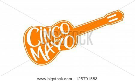 Cinco de Mayo vector illustration. 5 of May holiday vector. Cinco de Mayo holiday banner.  Cinco de Mayo holiday lettering with guitar. Cinco de Mayo handwritten illustration