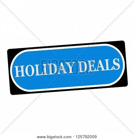 holiday deals white wording on blue background black frame