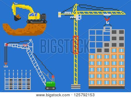 Building house engineering with cranes and excavator. Pixel vector illustration
