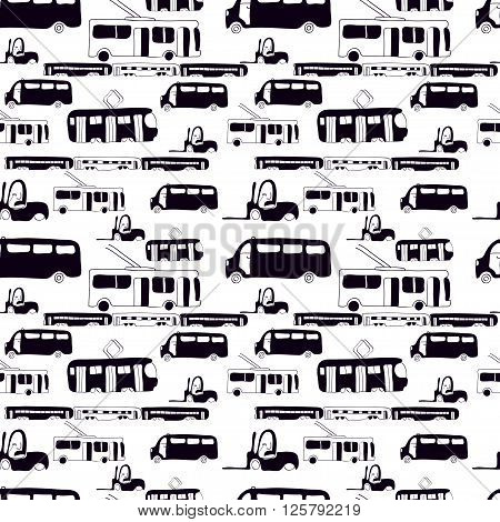 Vector seamless pattern with hand drawn cars. Bus train trolleybus tram. Cartoon black and white transport design for brochures posters greeting cards flyers.