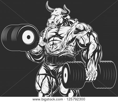 Vector illustration strong bull doing exercise with dumbbells for biceps