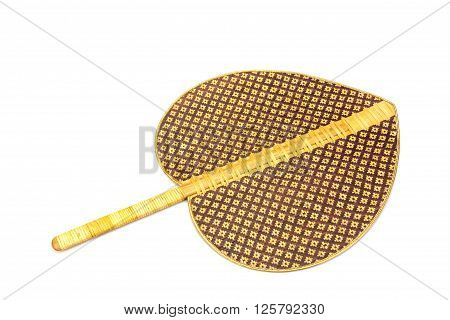 Thai weaved bamboo fan isolated on white background