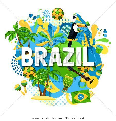 Colorful poster with native symbols of brazil mixed together on the white background vector illustration