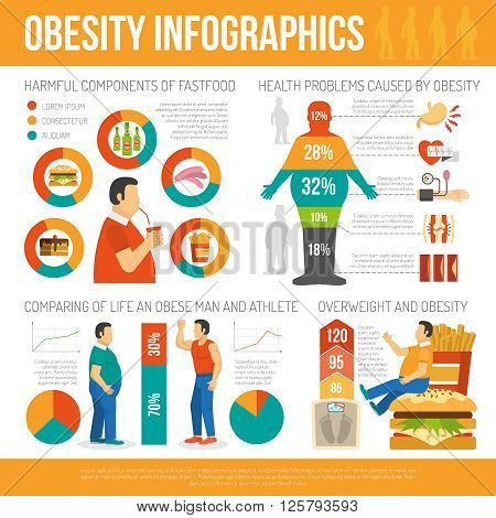 Infographic showing harmful of fastfood and different health problems caused by obesity vector illustration