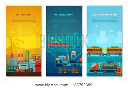 Petroleum industry vertical banners set with manufacture extracting platform truck and cisterns at railway isolated vector illustration