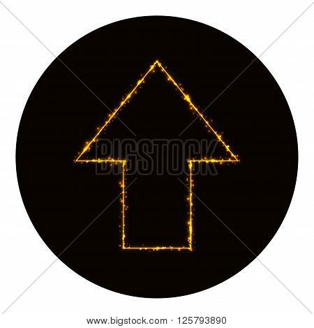 Arrow icon silhouette of gold lights on black background. Neon vector icon