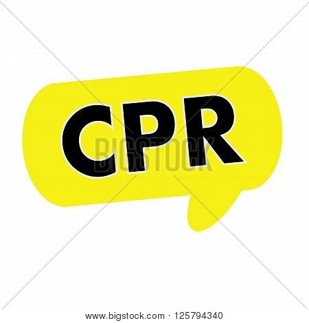 CPR wording on Speech bubbles yellow rectangular