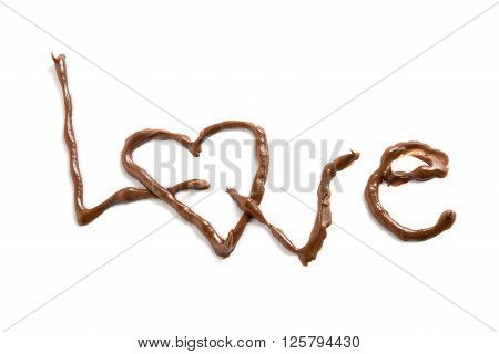 sweet Chocolate love written on white background close up