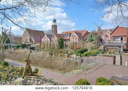 idyllic Village of Ditzum in East Frisia at North Sea,Lower Saxony,Germany