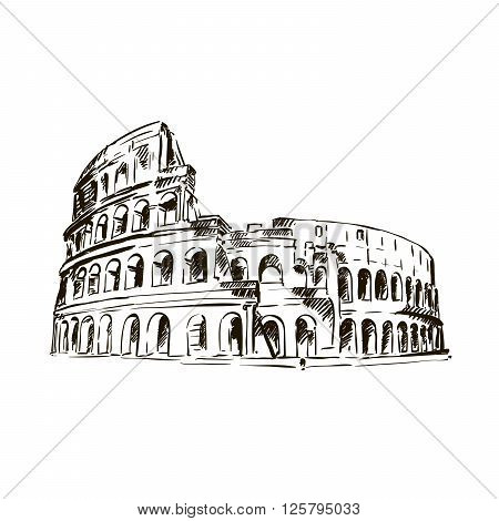 hand drawn sketch of Coliseum on a white background
