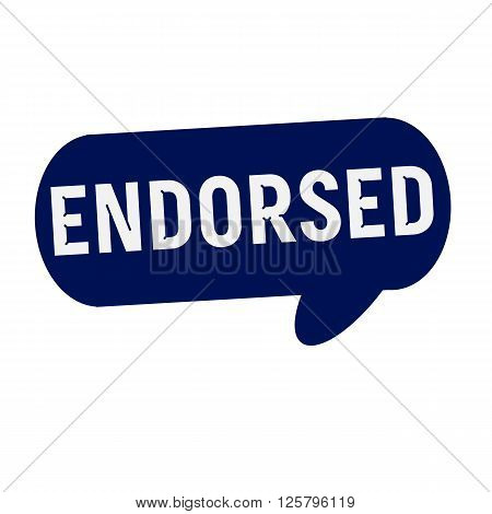 ENDORSED wording on Speech bubbles blue cylinder