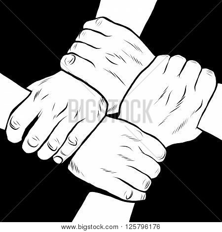 Black and white hands solidarity friendship pop art retro style