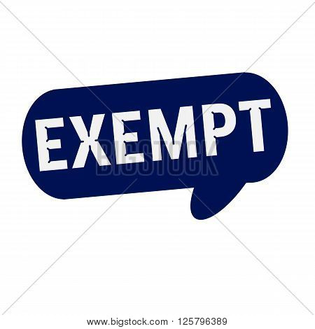 EXEMPT wording on Speech bubbles blue cylinder