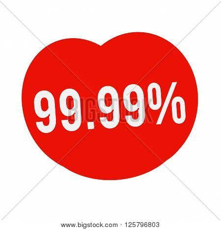 an images of 99.99 percent wording on Red Heart