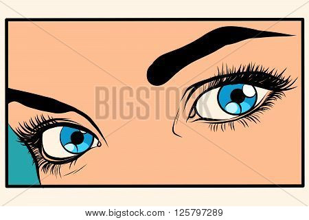 Beautiful blue eyes girl pop art retro style. Closeup of a fragment of womans face