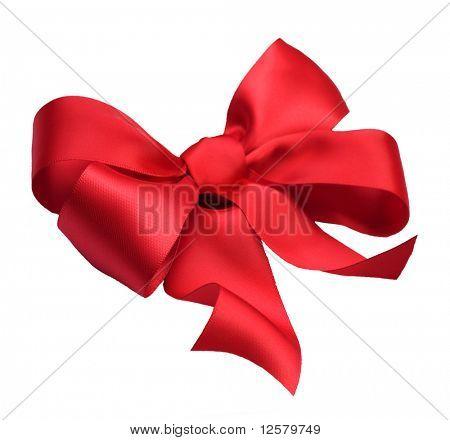 Rote satin Geschenk Bogen. Multifunktionsleiste. Isoliert auf weiss