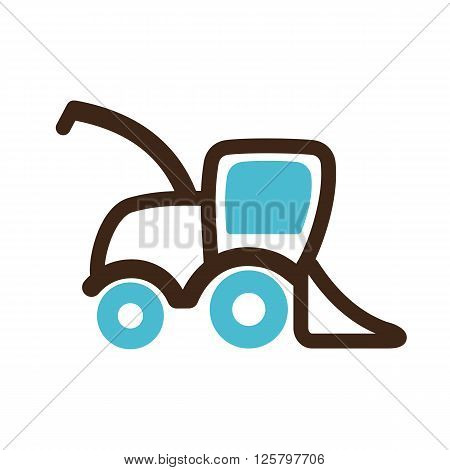 Combine harvester icon outline. Field. Farm. Vector illustration eps 10