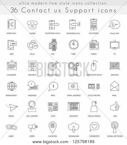 Vector contact us ultra modern outline line icons for web and apps
