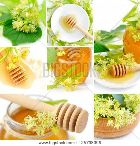 Beautiful collage with fresh honey and flowers of linden