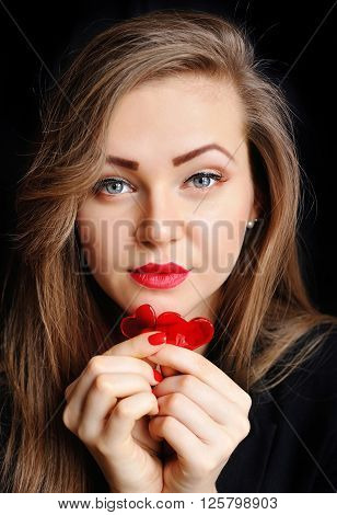 Beautiful Girl With Two Red Candy Hearts Heart