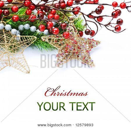 Christmas border over white